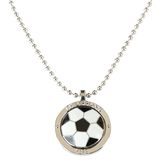 Soul Anchor, Philippians 4:13 Soccer Ball Necklace, Zinc Alloy and Epoxy, Silver, 22 inches