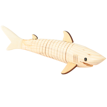 Woodpile Fun, Wood Wiggle Shark, 3 x 13 Inches, Natural, 1 Each