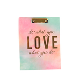 Fiddlestix Paperie, Do What You Love Watercolor Clipboard & Notepad, 12 1/2 x 9 1/2 x 3/4 inches