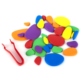 Edx Education, Rainbow Pebbles Mini Jar Set 30 Pieces, Multi-Colored, Grades PreK-8