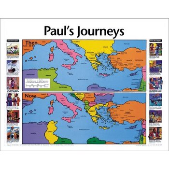 Pauls Journeys Then and Now, by Rose Publishing, Wall Chart