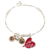Oori Trading, Love Bangle Bracelet with Four Charms, Silver Plated, 1 Piece