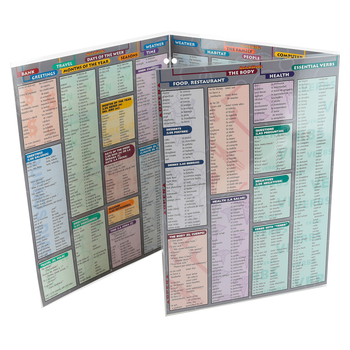 BarCharts Inc., Spanish Vocabulary Quick Study, 8.5 x 11 Inches, Multi-Colored, 6 Pages