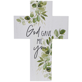 Studio His & Hers, God Gave Me You Wall Cross, MDF, White & Green, 11 3/4 x 7 3/4 inches