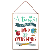 P. Graham Dunn, A Teacher Takes A Hand Wall Plaque, Glass and Metal, 5 x 7 inches