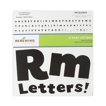 Renewing Minds, Black Bulletin Board Letters, Upper and Lowercase, 4 Inches, Black, 217 Pieces