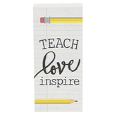 Teach Love Inspire Wood Decor, White, 1 1/2 x 3 1/2 x 1 1/8 inches
