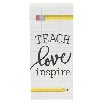 Teach Love Inspire Wood Decor, White, 1 1/2 x 3 1/2 x 1 1/8 inches