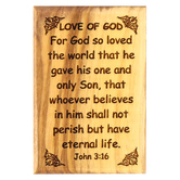 Logos Trading Post, John 3:16 Love Of God Magnet, Olive Wood, 2 3/8 x 1 5/8 inches