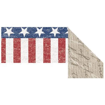 Renewing Minds, Wide Double-Sided Border Trim, 38 Feet, Patriotic Distressed Stars, Stripes, and Document