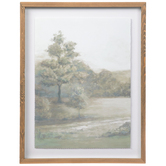 Hazy Green Trees Framed Wall Decor, Wood, White, 23 x 17 3/4 x 1 1/4 inches