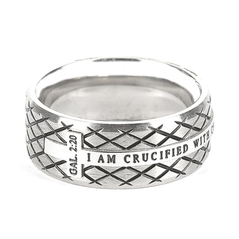 Spirit & Truth, Galatians 2:20, Crucified Silver Diamond Back Cross, Men's Ring, Stainless Steel, Sizes 8-12
