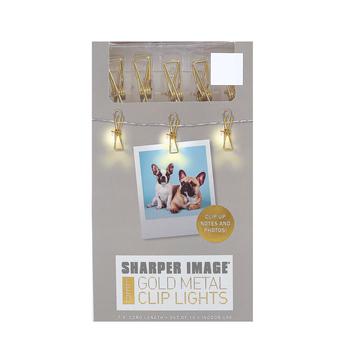Sharper Image, Metal Clip LED Lights, Gold, 7 1/2 feet