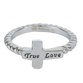 Spirit & Truth, True Love Simplicity Cross, Women's Ring, Stainless Steel, Sizes 5-9