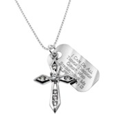 Spirit & Truth, Philippians 4:13 Jeweled Cross and Tag Necklace, Sterling Silver and Cubic Zirconia, 18 inches