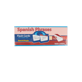 BarCharts, Spanish Phrases Flash Cards, 10.50 x 3.75 Inches, White, 1000 Cards, Grades 5 and up