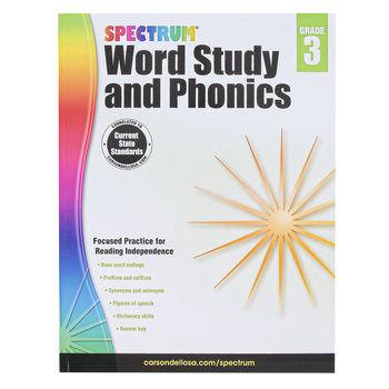 Carson-Dellosa, Spectrum Word Study and Phonics Workbook Grade 3, Paperback, 168 Pages, Ages 8-9