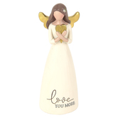 Blossom Bucket, Love You More Angel Figurine, Resin, 2 x 5 1/4 inches