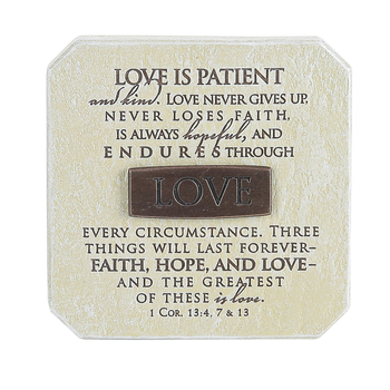 LCP Gifts, 1 Corinthians 13 Love Is Patient Tabletop Plaque, Cast Stone, 3 3/4 inches