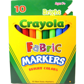 Crayola, Bright Fabric Markers, Fine Tip, Assorted, 10 count