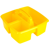 Storex, Small Caddy, Yellow,  3 Compartments, Plastic, 9.25 x 9.25 x 5.25 Inches, 1 Piece