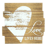 Love Lives Here Tabletop Plaque, MDF, White & Brown, 5 x 5 inches