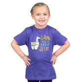 NOTW, Llama Tell U About Jesus, Kid's Short Sleeve T-shirt, Purple, 3T-Youth Large