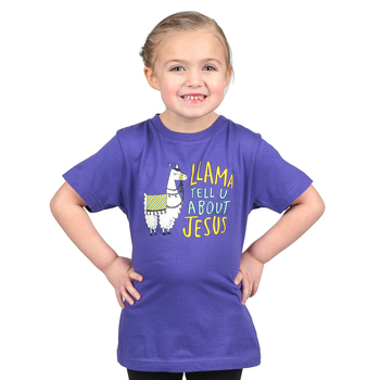NOTW, Llama Tell U About Jesus, Kid's Short Sleeve T-shirt, Purple, Youth Large