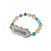 Bella Grace, Love Beaded Stretch Bracelet, Multicolored, 3 inch diameter