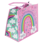 Stephen Joseph, Psalm 139:14 Sparkle Unicorn & Rainbow Recycled Gift Bag, 9 x 5 1/2 x 9 1/2 inches