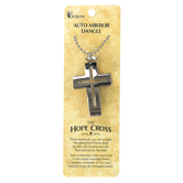 Dicksons, Hope Cross Car Charm, Metal, Silver, 1 3/4 x 1 1/4 inches
