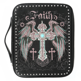 Montana West, Faith Cross Bible Cover, Polyurethane Leather, Black, Medium