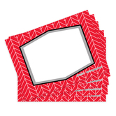 Isabella Collection, Self-Adhesive Labels, Red Herringbone, 3.5 x 2.5 Inches, Pack of   36