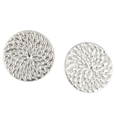 Set Free, Round Medallion Post Earrings, Zinc Alloy, Silver