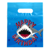 Brother Sister Design Studio, Zipper Bags with Handle, Happy Birthday Shark, Plastic, 24 Count