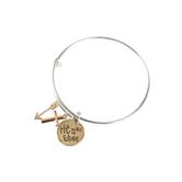 Bella Grace, He Makes Me Brave Wire Bangle Bracelet, Silver, 2 3/4-inch Diameter