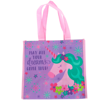 Stephen Joseph, Unicorn and Rainbow Recycled Gift Bag, 9 1/2 x 9 x 5 1/2 inches