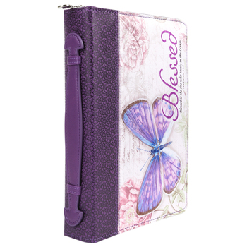 Christian Art, Blessed Bible Cover, Leather-like, Purple, Multiple Sizes Available