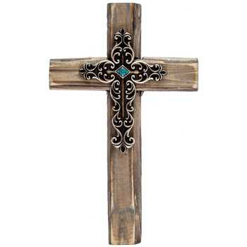 Rustic Wood Wall Cross with Center Embellishment, 10 x 6 1/8 inches