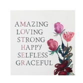 Collins Painting & Design, Amazing Loving Strong Happy Selfless Graceful Mother Box Sign, 7 inches