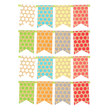 TooCute Collection, Polka Dot Pennant Banner, 8 Designs,16 Flags, 12 Feet