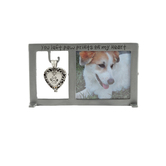 Abbey and CA Gift, Paw Prints on My Heart Pet Memorial Photo Frame, Pewter, 5 1/4 x 2 1/4 inches