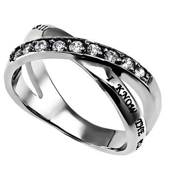 Spirit & Truth, Jeremiah 29:11, I Know, Women's Twin Band Ring, Stainless Steel