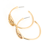 His Truly, Hoop with Leaf Dangle Earrings, Zinc Alloy, Gold