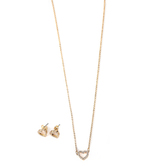 Faithful and Fabulous, Bling Heart Necklace and Earring Set, Iron, Gold, 20 Inch Chain, 3 Pieces