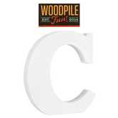 Woodpile Fun, Stand Alone Wood Letter - C, 3 inches, White