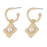 Mercy Adorned, Proverbs 5:21 Hoop with Pearl Pendant Dangle Earrings, Zinc Alloy, Brushed Gold