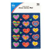 Carson-Dellosa, Jesus Loves Me! Shape Stickers, 1 x 1 Inch, Multi-Colored, Pack of 90