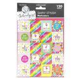 Schoolgirl Style, Simply Stylish Tropical Square Motivational Stickers, Multi-Colored, 120 Stickers