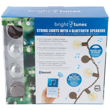 Bright Tunes, Decorative String Lights with Bluetooth Speakers, Brown, 15 feet